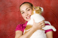 Girl and cat royalty free stock photo