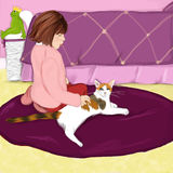Girl with Cat. Illustration of a girl petting her cat Stock Photo