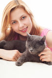 Girl with cat Royalty Free Stock Photo