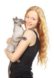 Girl With Cat Royalty Free Stock Photos