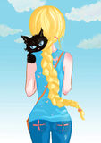 Girl with cat. Blonde girl with a black cat. Vector illustration. Art creative Royalty Free Stock Photos