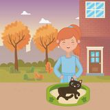 Girl with cat cartoon design stock illustration