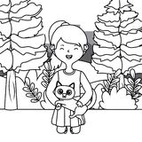 Girl with cat cartoon design vector illustration