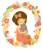 Girl and cat. Cartoon girl hugging a cat in a vintage style floral frame Royalty Free Stock Image