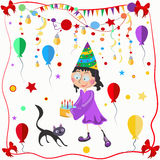 Girl and cat celebration balloons, bows Stock Image