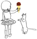 Girl-cat-chocolate-icecream Stock Photos