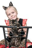 Cats on a chair. Girl in a cat costume sits on a chair and holds a live cat, isolated on a white background Royalty Free Stock Photography