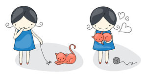 Girl and cat. Cute cartoon girl with her playful cat Stock Photos