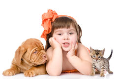 Girl with a cat and a dog. isolated on white background Stock Photography