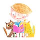 Girl Cat and Dog Reading Book. Funny animals and child studying. Vector cartoon Stock Photography