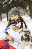 Girl and cat and dog Royalty Free Stock Photo