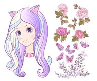 Girl with a cat ears and colored long hair and set of rose, butt Stock Photo