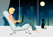 Girl with cat in the evening. Illustation Royalty Free Stock Photos