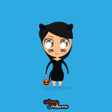 Girl With Cat Halloween Costume Isolated Stock Images