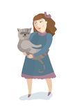 The girl with a cat on hands Stock Photos