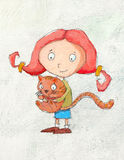 Girl and cat. Happy redhead girl with cute cat. Painting illustration Stock Photos