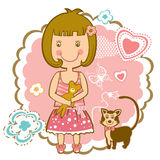 Girl and cat illustration Royalty Free Stock Photo
