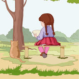 Girl with cat. Girl with interesting book and red cat royalty free illustration