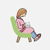 Girl and cat on lap Stock Photography