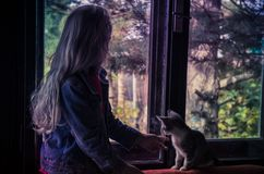 Girl and cat looking through window Stock Photo