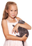 Girl with cat Royalty Free Stock Photography