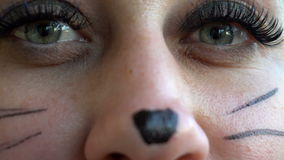 Girl with cat make-up, close-up shooting stock footage