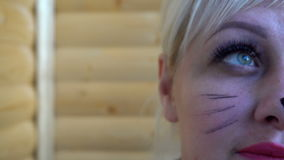 Girl with cat make-up, close-up shooting stock video footage