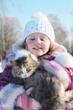 Girl with cat outdoor Royalty Free Stock Photo