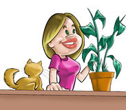 The girl, cat and plant. A girl looking a planta and a little orange cat stock illustration