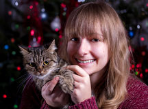 Girl with a cat Royalty Free Stock Image
