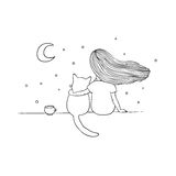 Girl and a cat on the roof. Hand drawing isolated objects on white background. Vector illustration Royalty Free Stock Photo