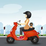 Girl and cat on scooter. Illustration of girl and cat on scooter Royalty Free Stock Image