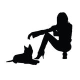 Girl with cat silhouette illustration Stock Photo