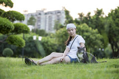 A Girl and cat Royalty Free Stock Images