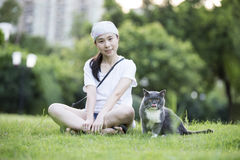 A Girl and cat Royalty Free Stock Photo