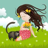 Girl with cat sitting on grass Royalty Free Stock Photography