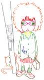 Girl-cat-street-pillar Royalty Free Stock Images