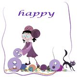 Girl and cat vector Royalty Free Stock Photography