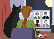 Girl and cat watching  online dating site. Humor funny illustration Stock Photos