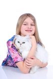 Girl with a cat Royalty Free Stock Images