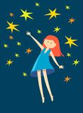Girl catch star. On dark blue background Royalty Free Stock Photo