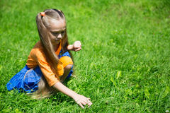 Girl catches a grasshopper on the lawn Stock Photo
