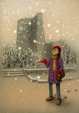 Girl catches on hand the first snow in Baku. Near Maiden Tower Royalty Free Stock Images