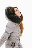 Girl catches snow Royalty Free Stock Photography