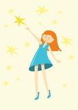 Funny girl/catch star girl/cute girl illustration/pretty girl/illustration beautiful girl/character design/star-themed illustratio Royalty Free Stock Photos
