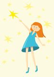 Girl catches a star. Red-haired girl in a turquoise dress catches a star Royalty Free Stock Image