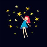 Girl catches a stars. vector illustration. pretty girl. Girl catches a stars. vector illustration Stock Images