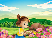 A girl catching the butterfly at the garden Stock Illustration