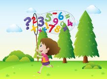 Girl catching numbers and math signs in the park. Illustration Stock Photo