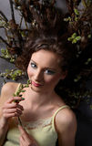 Girl with catkin plant Stock Photos